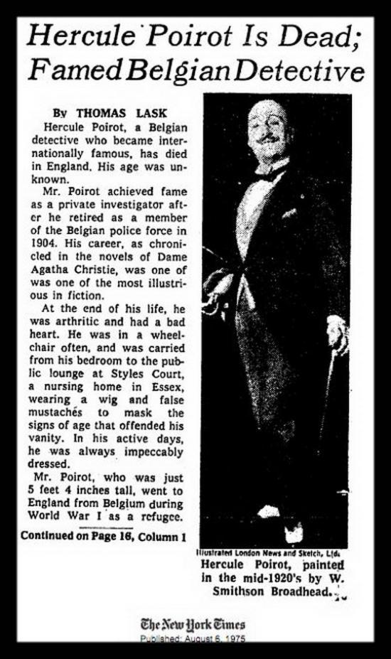 Η νεκρολογία του Ηρακλή Πουαρό (The New York Times, 6-8-1975)